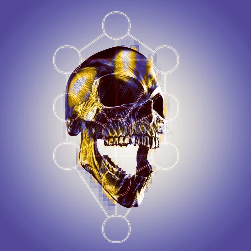 Cráneo de griterío de metales pesados - árbol de la vida stock de ilustración