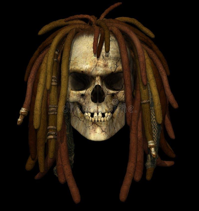 Cráneo de Grunge con Dreadlocks stock de ilustración