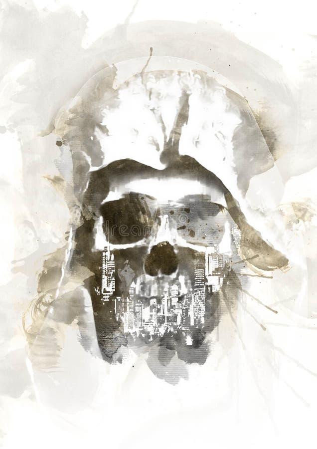 Cráneo de la acuarela ilustración del vector