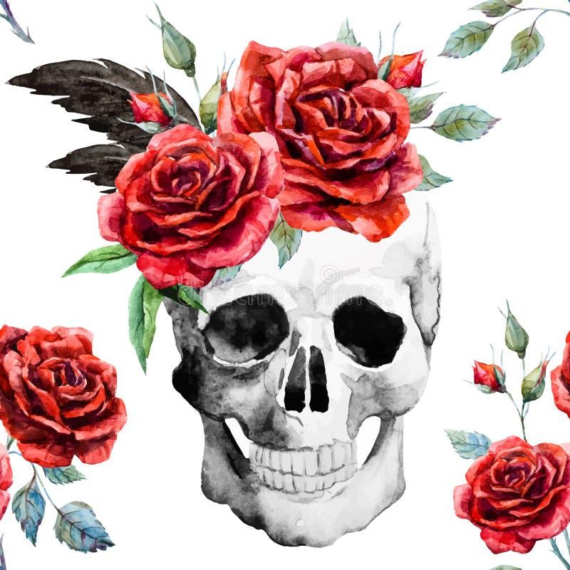 Cráneo de la acuarela y modelo de las rosas stock de ilustración