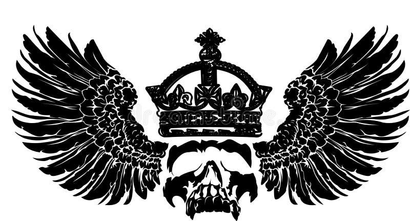 Cráneo de la corona en un ala. libre illustration