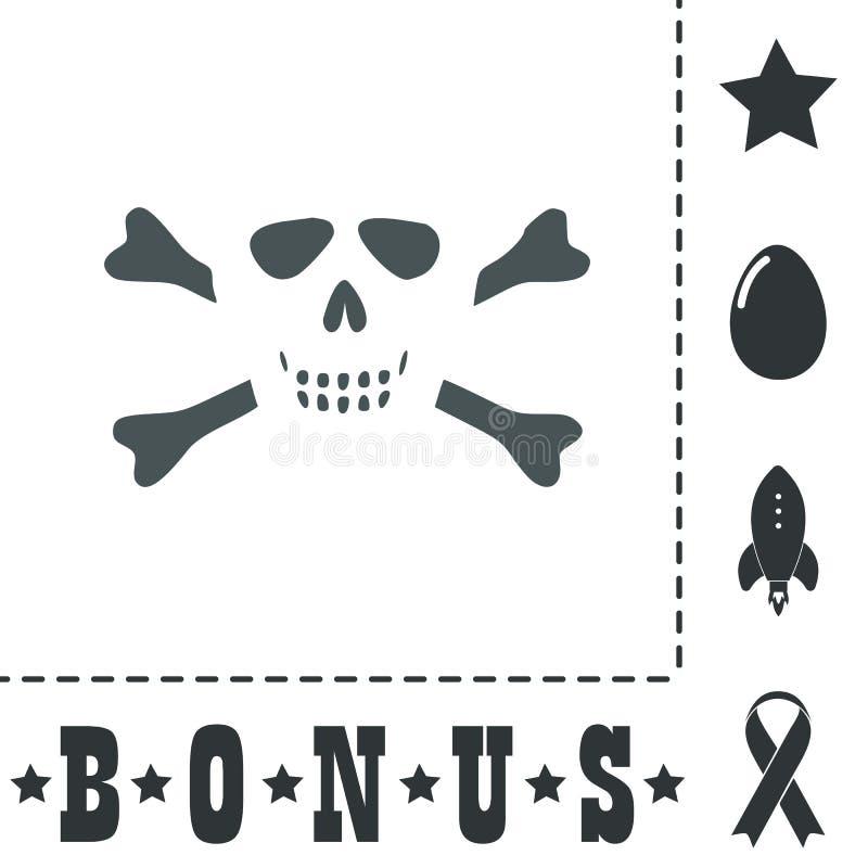 Cráneo de la historieta con el icono del vector de los huesos ilustración del vector