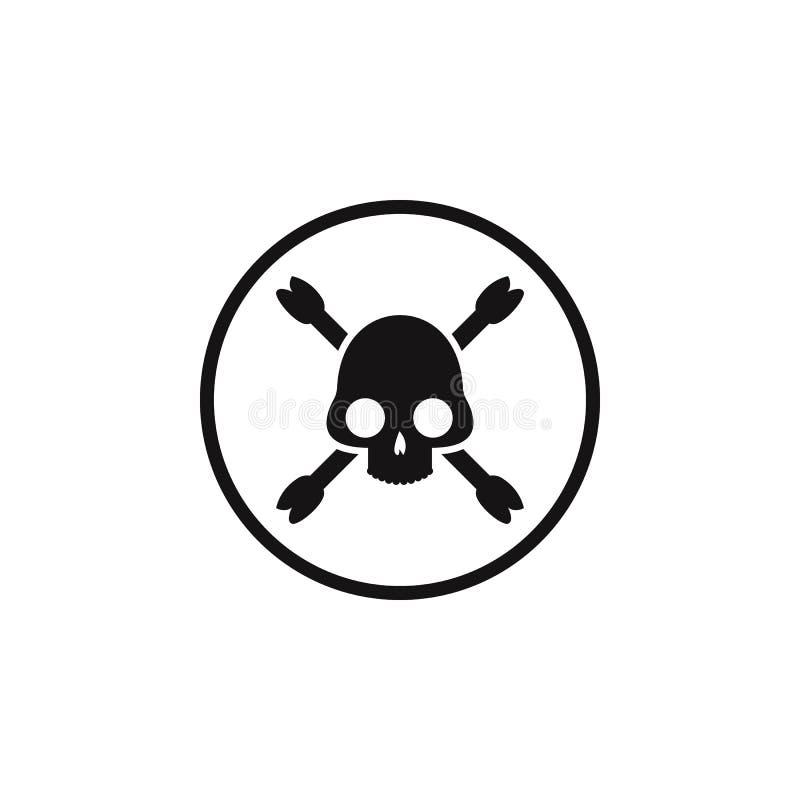 cráneo de la muestra e icono de los huesos El elemento del peligro firma el icono Icono superior del diseño gráfico de la calidad ilustración del vector