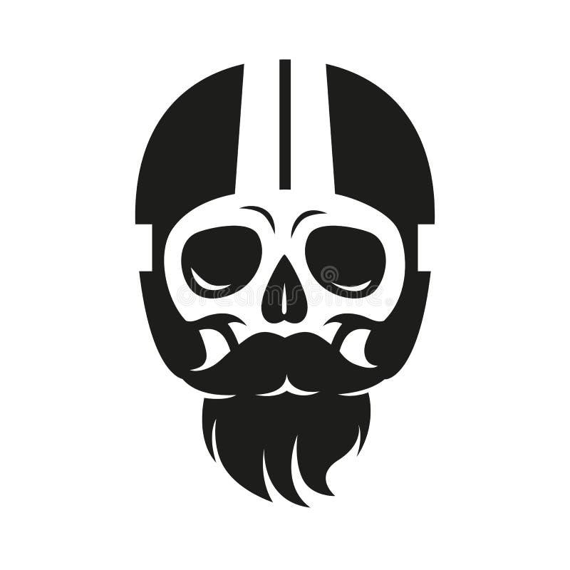 Cráneo de la muestra en el casco del moto, impresión en la camiseta ilustración del vector