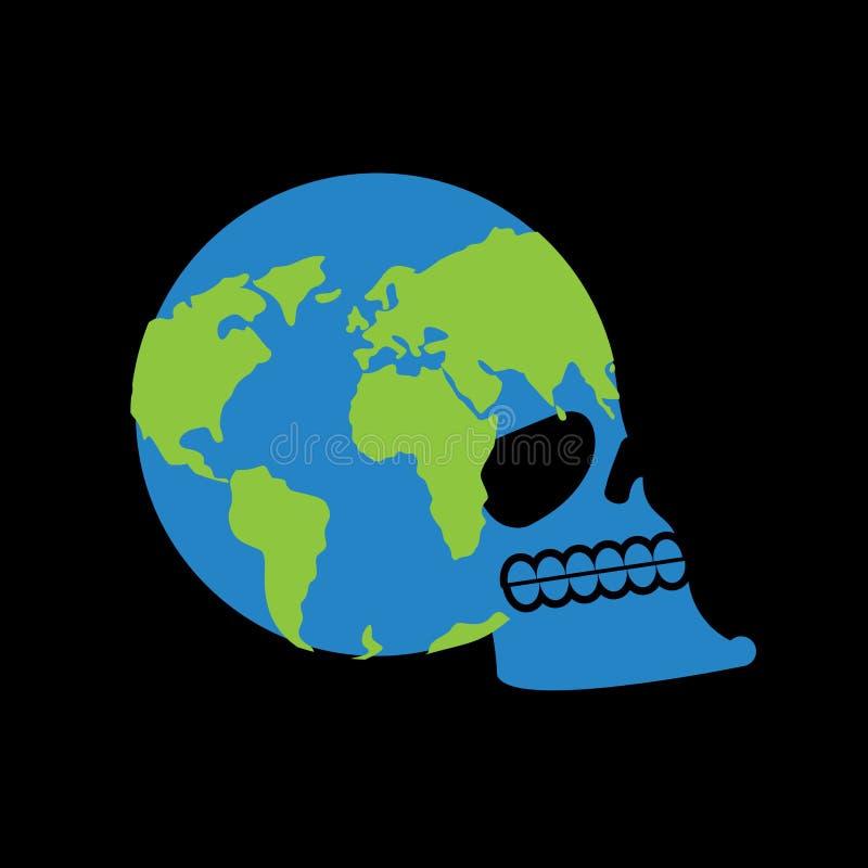 Cráneo de la tierra el jefe del esqueleto es planeta Continentes y océanos libre illustration