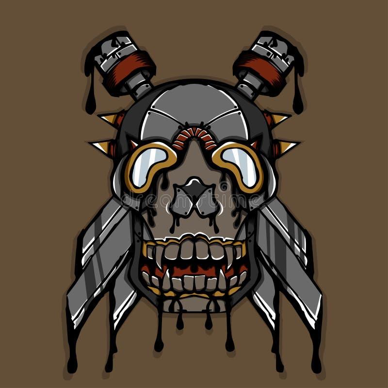 Cráneo de la tinta de Steampunk ilustración del vector