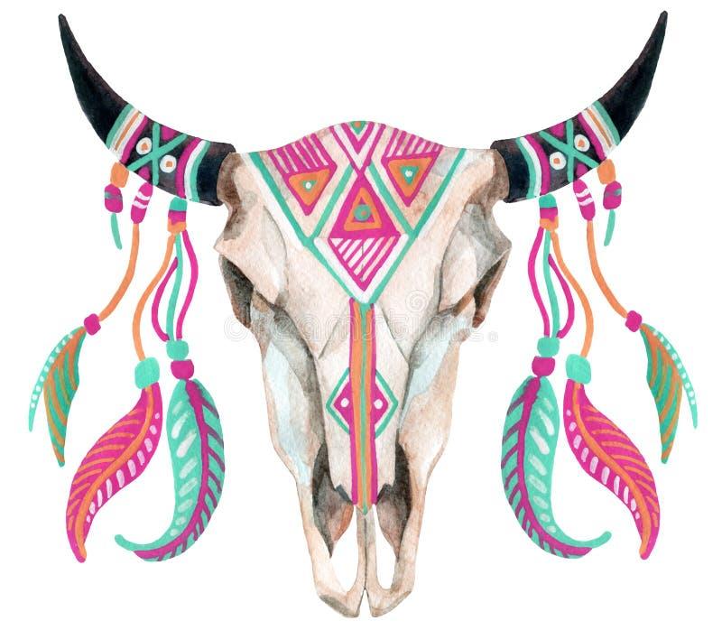 Cráneo de la vaca de la acuarela ilustración del vector