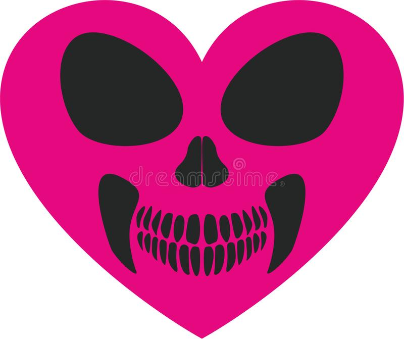 Cráneo de las tarjetas del día de San Valentín con el corazón libre illustration