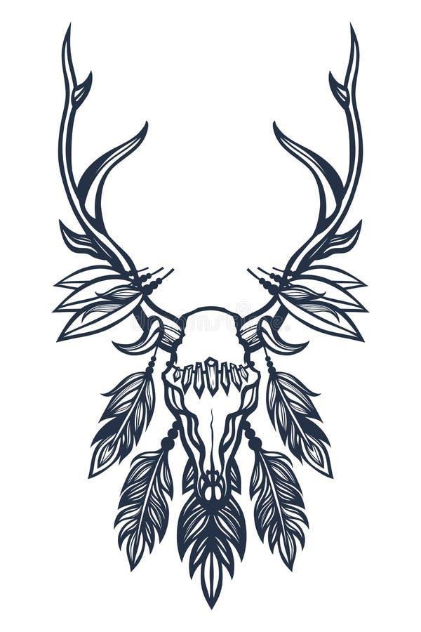 Cráneo de los ciervos con las astas, las plumas y los cristales Boho, étnico, tribal Arte del tatuaje Mano drenada ilustración del vector
