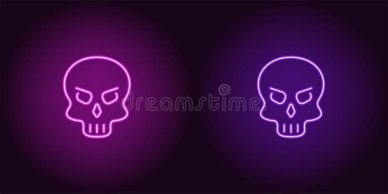 Cráneo de neón humano en color púrpura y violeta ilustración del vector