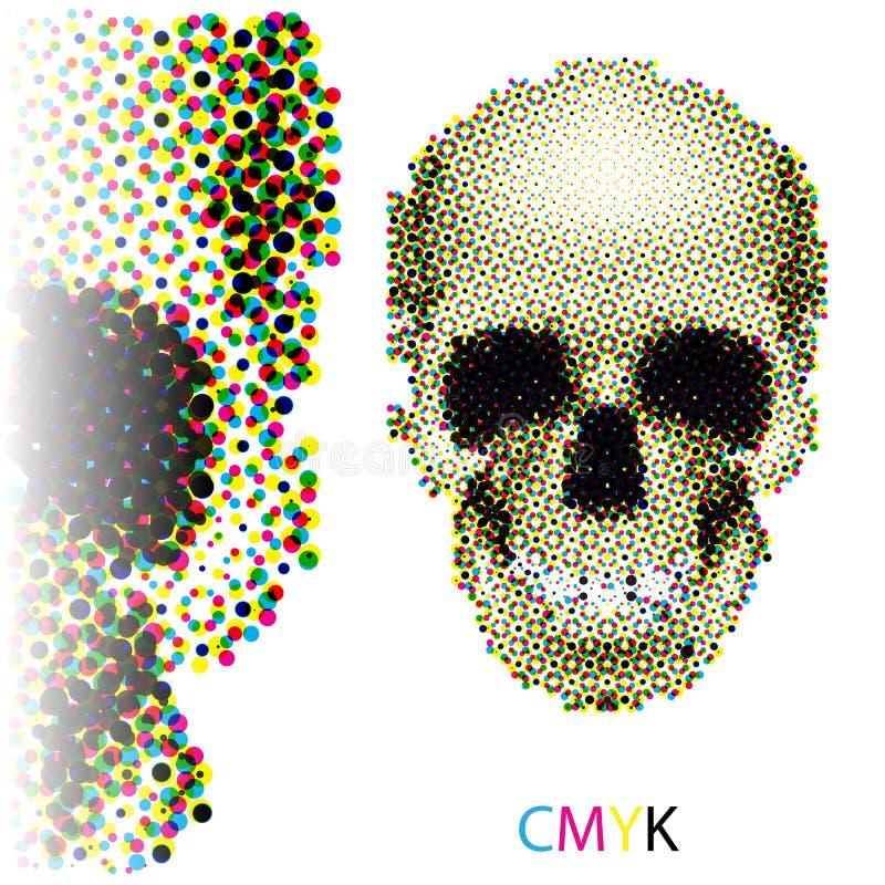 Cráneo de semitono stock de ilustración