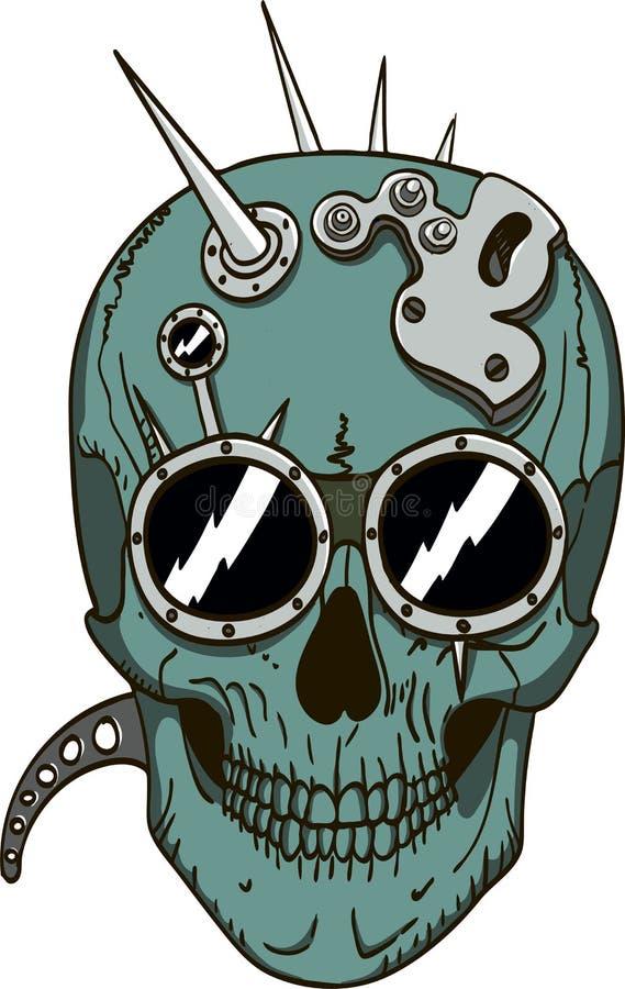 Cráneo de Steampunk stock de ilustración
