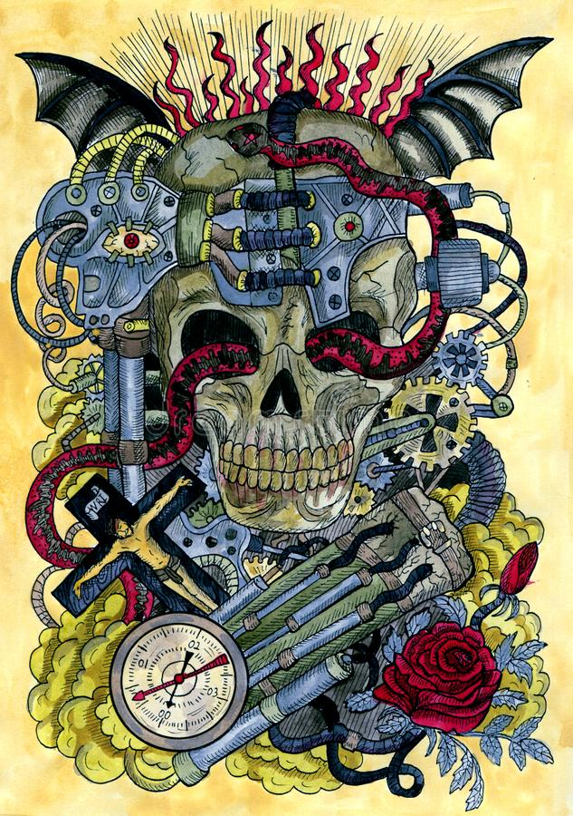 Cráneo de Steampunk con el reloj retro, el mecanismo de engranaje, la rosa roja, los tubos, los dientes y la cruz libre illustration