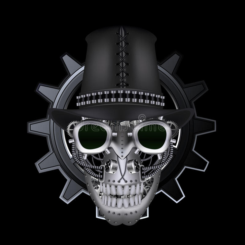 Cráneo de Steampunk con el sombrero de copa stock de ilustración