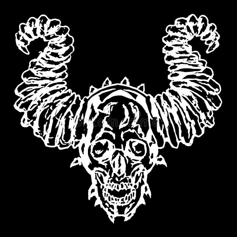 Cráneo de un demonio con los cuernos Ilustración del vector libre illustration