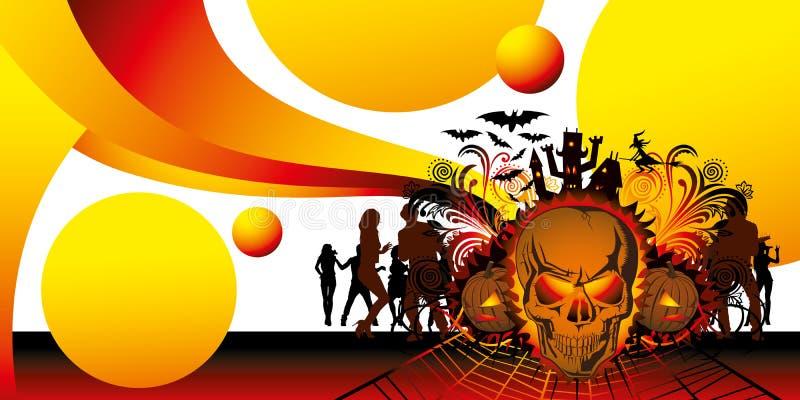 Cráneo de víspera de Todos los Santos y gente enojados del baile ilustración del vector