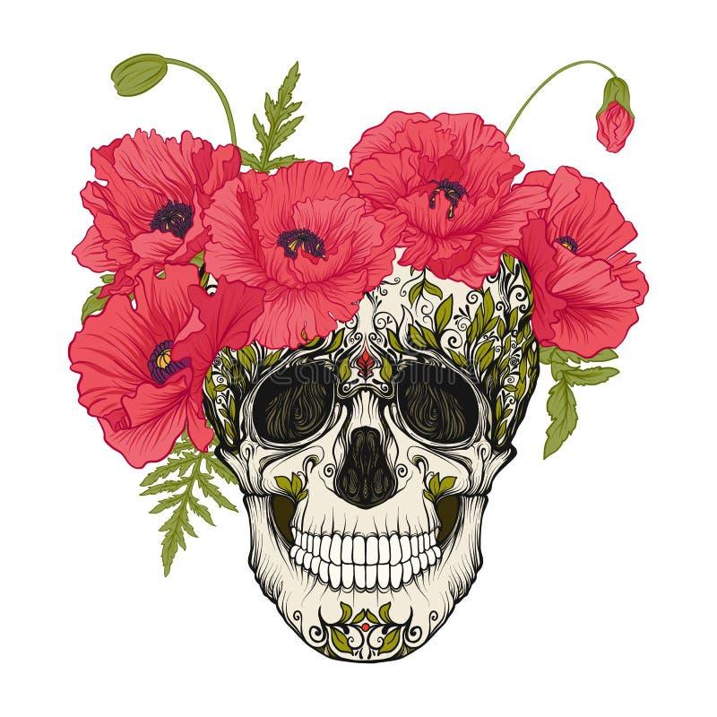 Cráneo del azúcar con el modelo decorativo y una guirnalda de amapolas rojas stock de ilustración