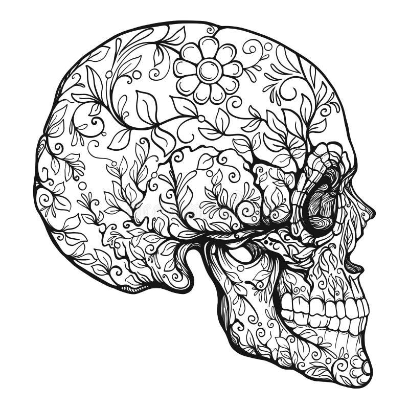 Cráneo del azúcar El símbolo tradicional del día de los muertos stock de ilustración