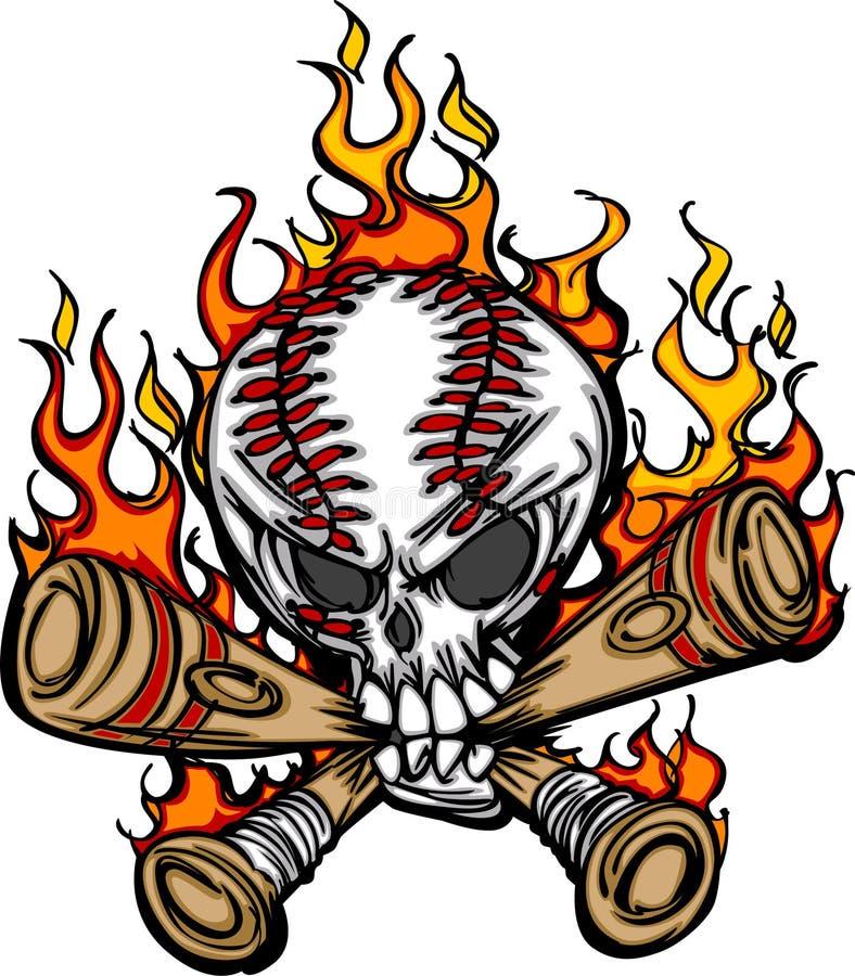 Cráneo del béisbol de la historieta con vector llameante de los palos ilustración del vector