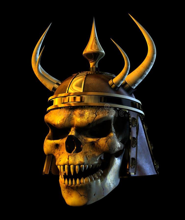 Cráneo del belicista del demonio - con el camino de recortes stock de ilustración