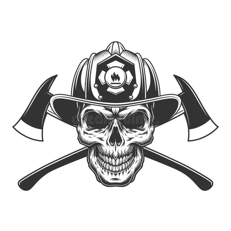 Cráneo del bombero del vintage en casco del bombero ilustración del vector