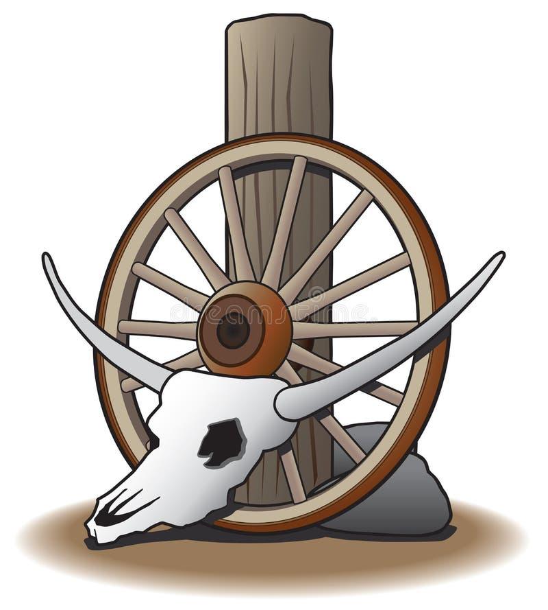 Cráneo del buey contra la rueda de carro stock de ilustración