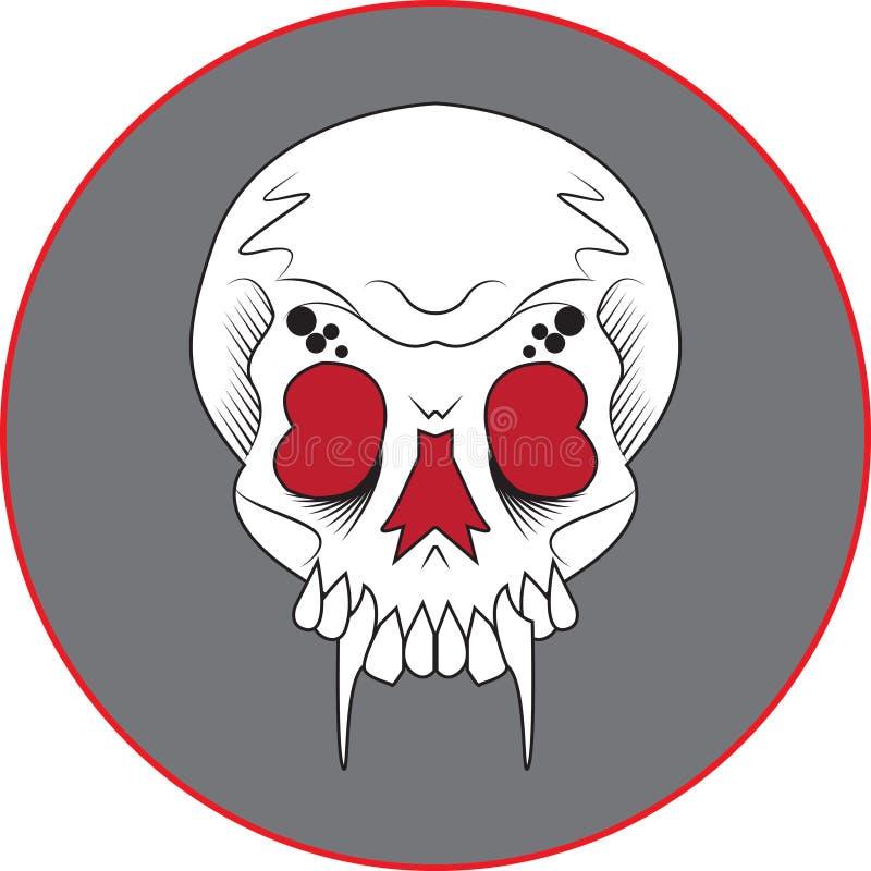 Cráneo del colmillo stock de ilustración