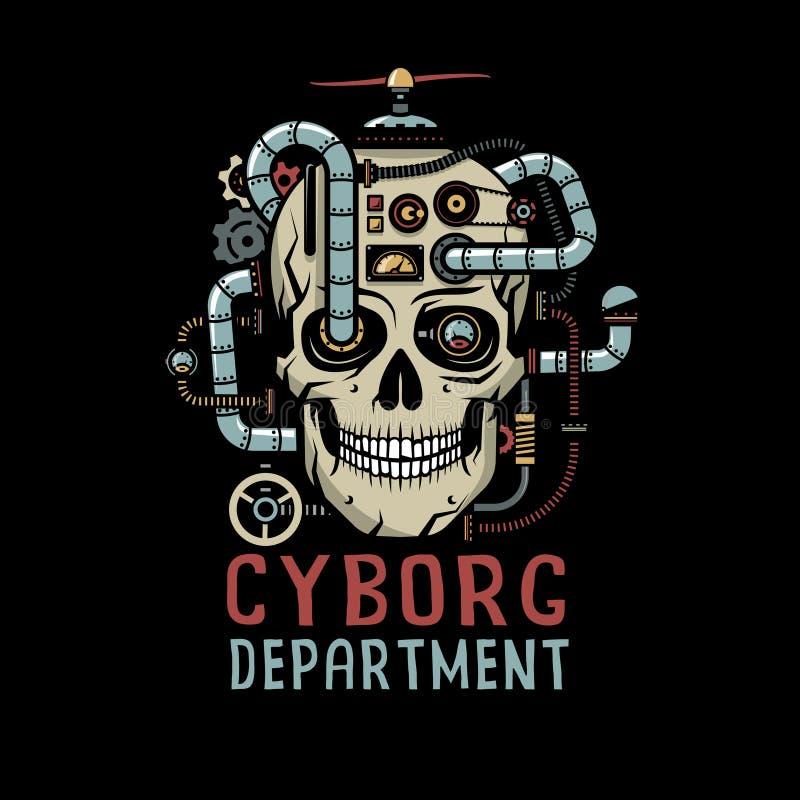 Cráneo del Cyborg de Steampunk con stock de ilustración