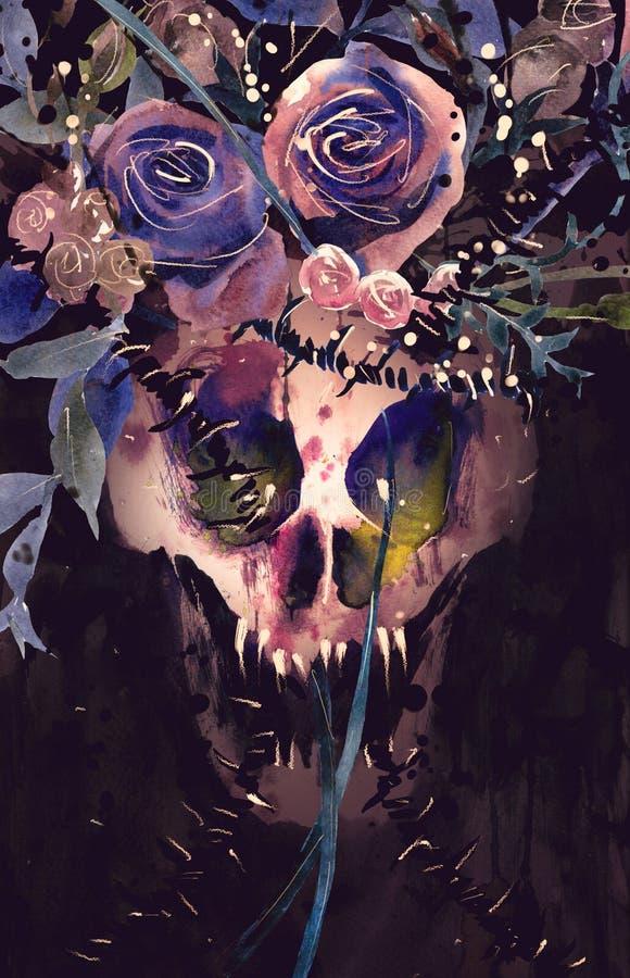 Cráneo del demonio de la pintura de la acuarela Adornado con las flores ilustración del vector