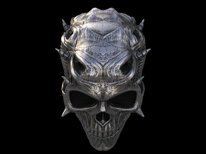Cráneo Del Demonio Del Metal Plateado Stock de ilustración ...