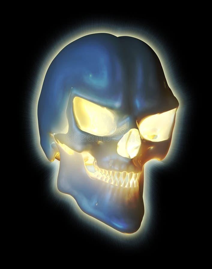 Cráneo del demonio que brilla intensamente stock de ilustración