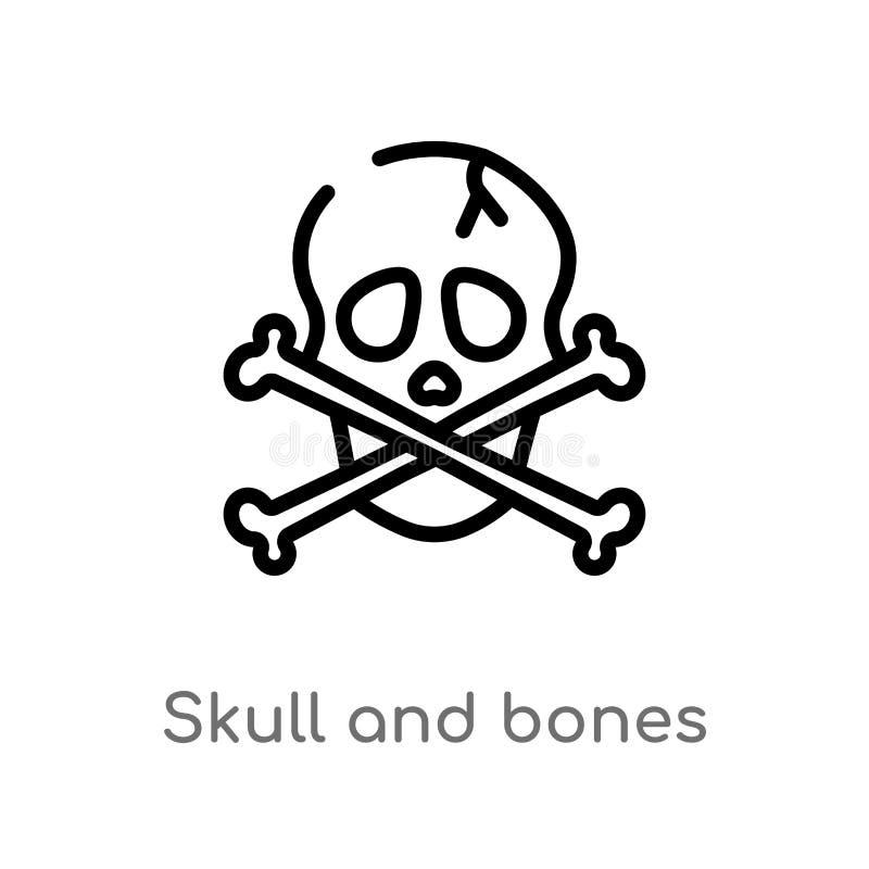 cráneo del esquema e icono del vector de los huesos línea simple negra aislada ejemplo del elemento del concepto náutico Movimien ilustración del vector