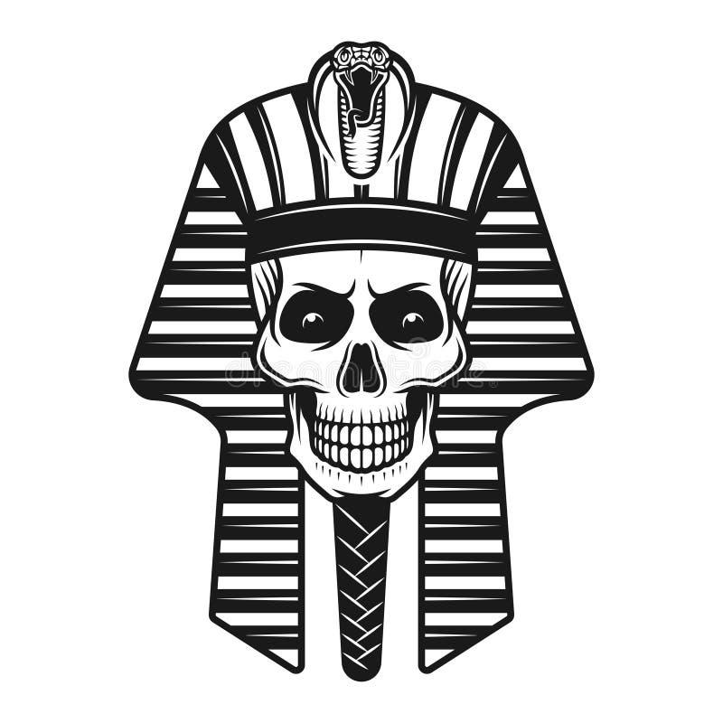 Cráneo del faraón, ejemplo retro antiguo egipcio stock de ilustración