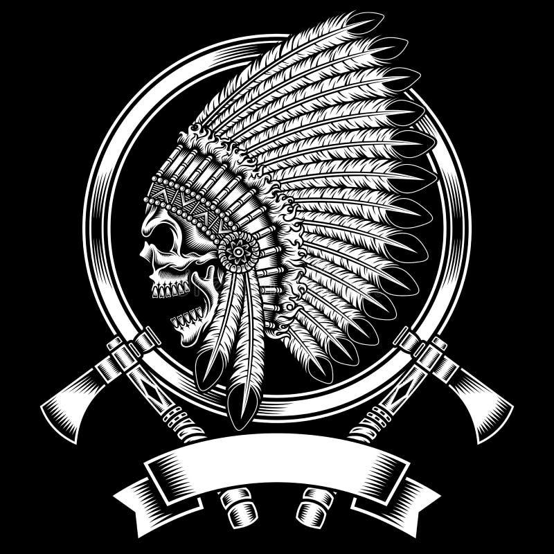 Cráneo del jefe indio del nativo americano con la hacha de guerra stock de ilustración