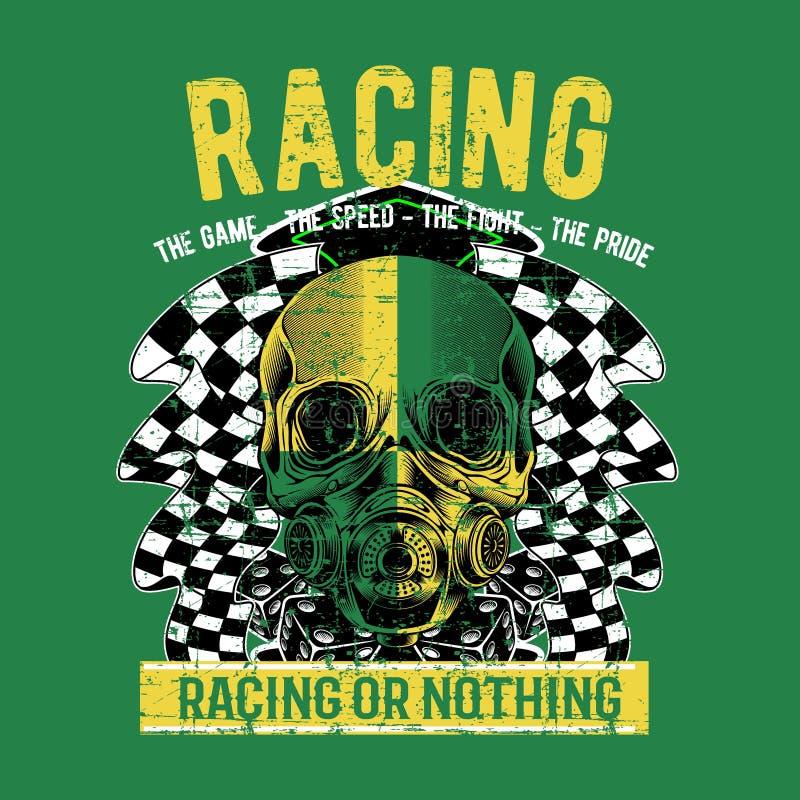 Cráneo del jinete del vintagebiker del estilo del Grunge stock de ilustración