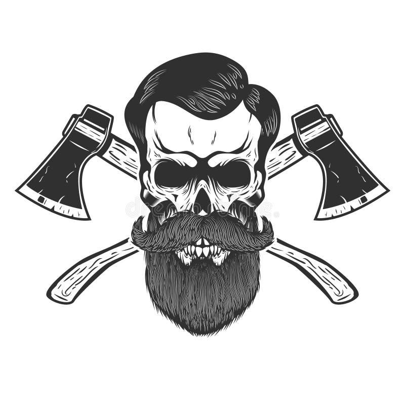 Cráneo del leñador con las hachas cruzadas Diseñe el elemento para el emblema, muestra, cartel, camiseta stock de ilustración