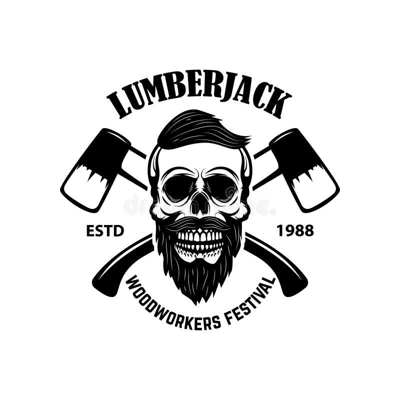 Cráneo del leñador con las hachas cruzadas Diseñe el elemento para el emblema, muestra, cartel, camiseta ilustración del vector
