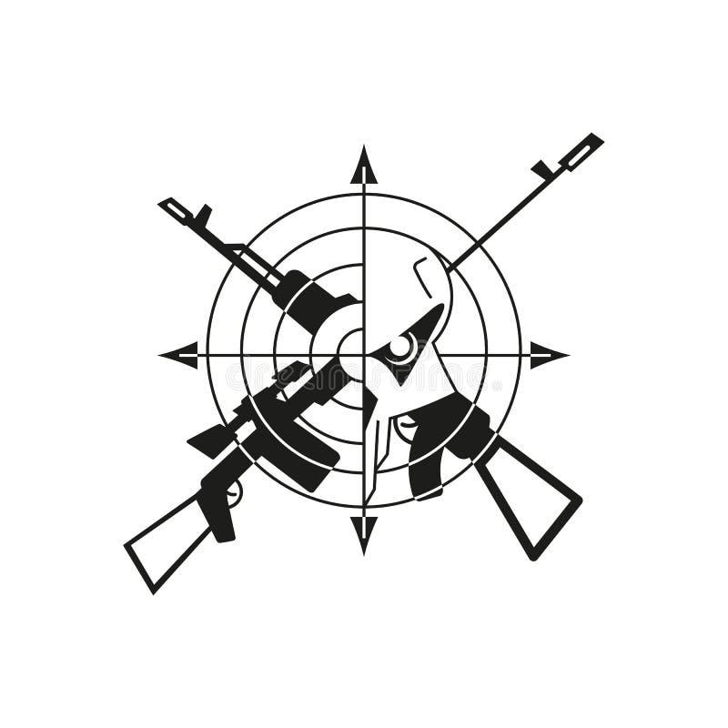 Cráneo del logotipo de la guerra ilustración del vector