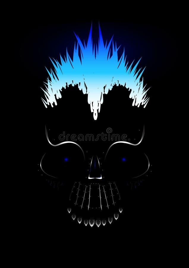 Cráneo del metal stock de ilustración