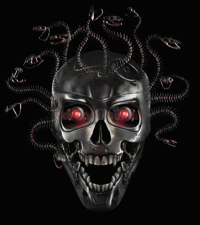 Cráneo del metal de la medusa ilustración del vector