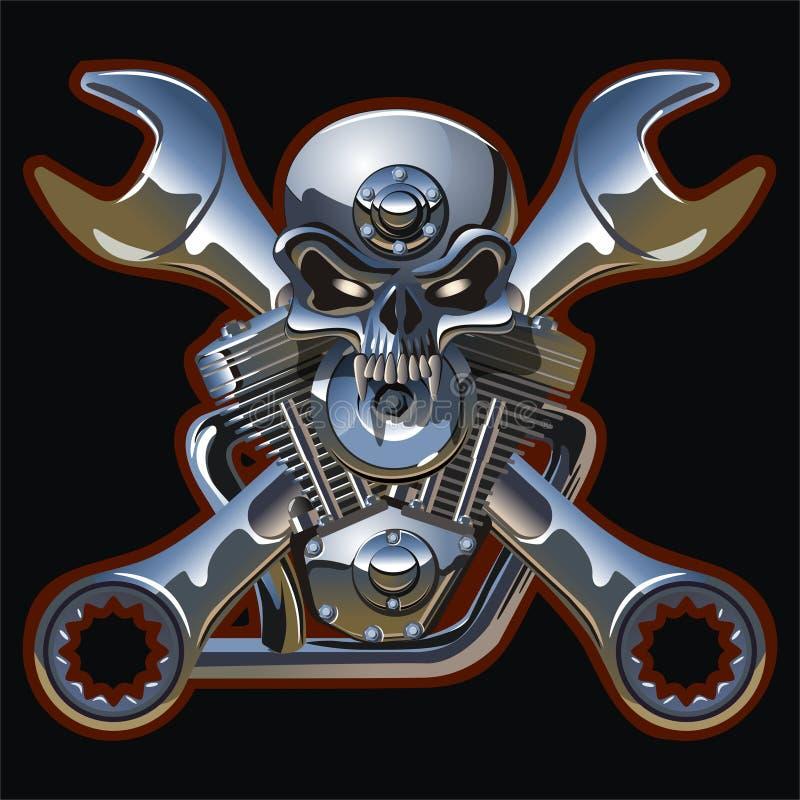 Cráneo del metall del vector con el motor stock de ilustración