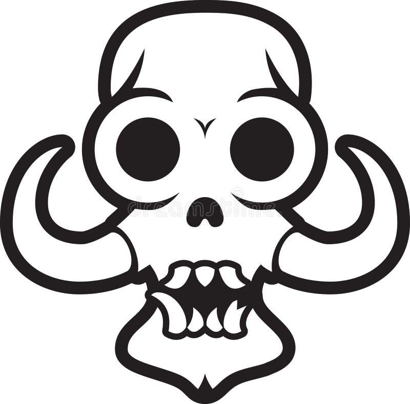 Cráneo del monstruo con los colmillos stock de ilustración