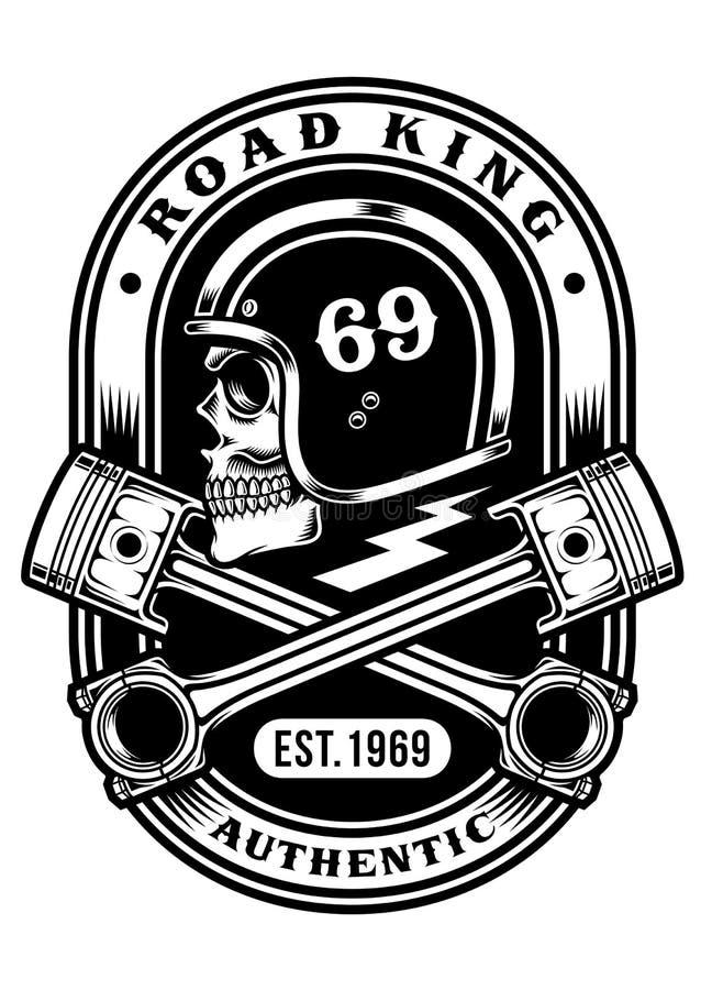 Cráneo del motorista con diseño gráfico cruzado de la camiseta de los pistones ilustración del vector
