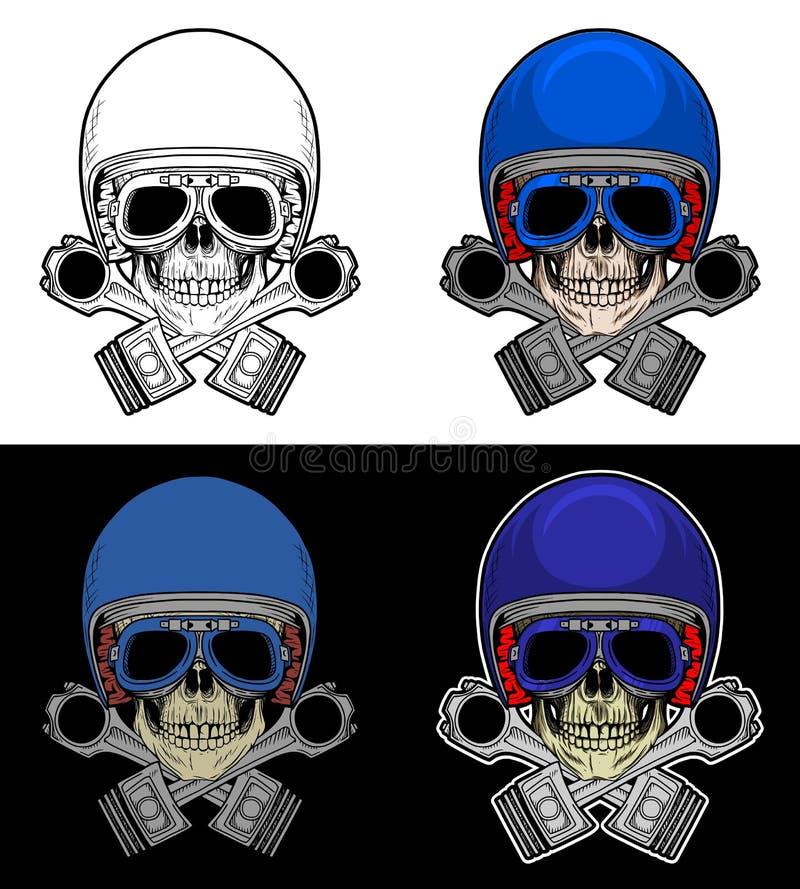 Cráneo del motorista con el pistón ilustración del vector