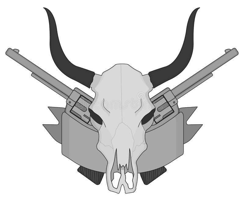 Cráneo del oeste salvaje de la vaca, pistolas, logotipo de la cinta gris libre illustration