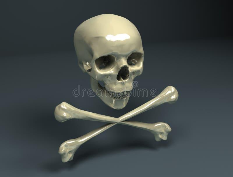 Cráneo del pirata stock de ilustración