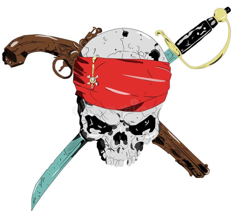 Cráneo del pirata ilustración del vector