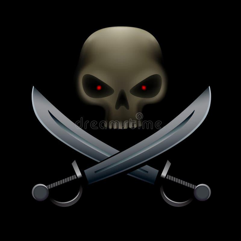 Cráneo del pirata con los sables libre illustration