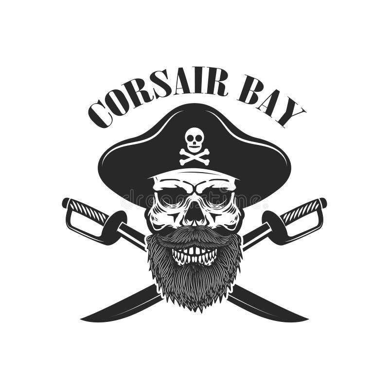 Cráneo del pirata con los sables cruzados Diseñe los elementos para el logotipo, etiqueta, muestra, menú stock de ilustración