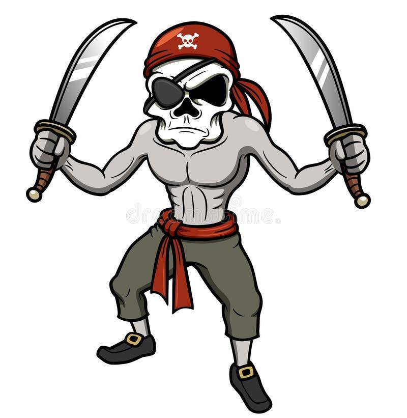 Cráneo del pirata de la historieta ilustración del vector